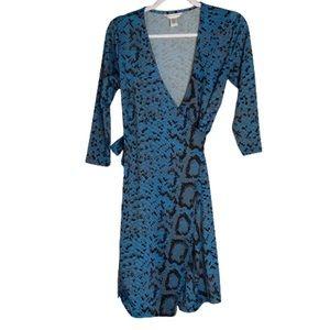 DVF Blue Snake Print Silk Jersey Wrap Dress